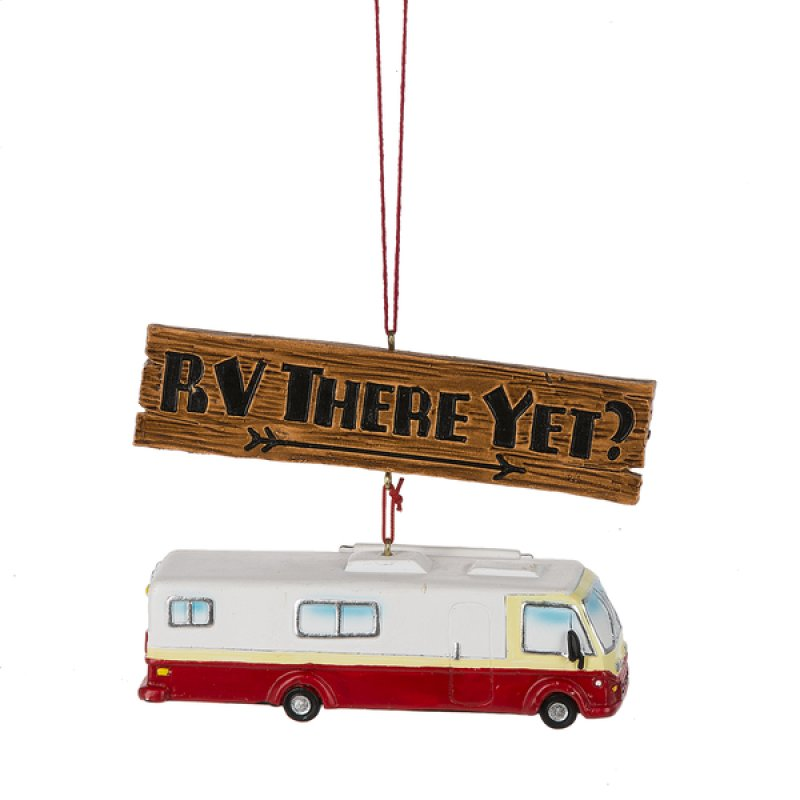 camper Christmas ornament class A RV there yet