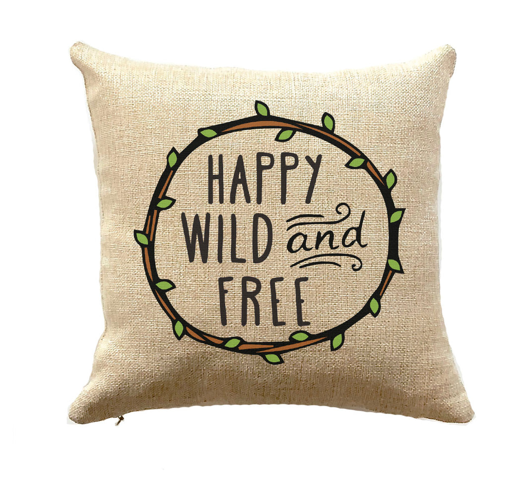 RV Decor Pillow Camper Gift Happy Wild and Free