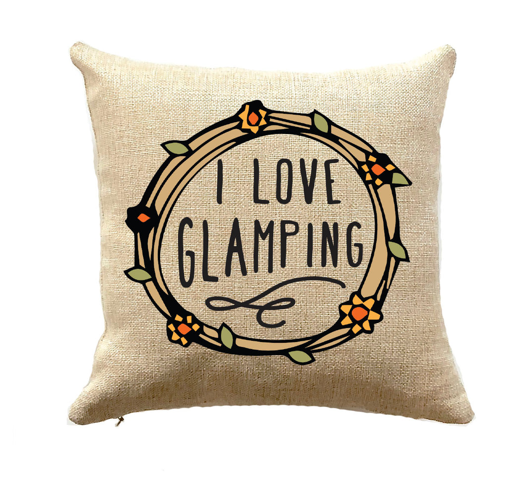Unique Camper Gift I Love Glamping Pillow RV Decor