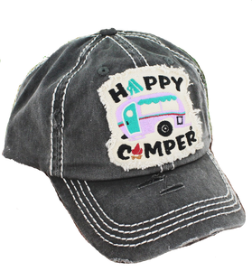 Distressed Happy Camper Patch Hat -  Teal