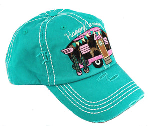 side view happy camper cap teal leopard