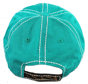 happy camper distressed cap back view teal with leopard rv gift