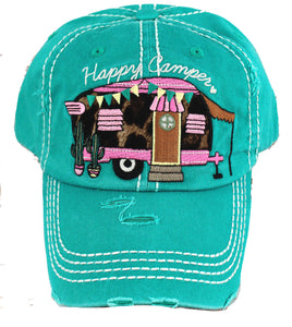 teal happy camper cap with pink trailer and leopard accents front view