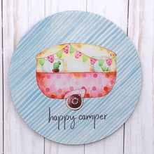 happy camper mouse pad blue stripe