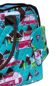 Happy Camper Quilted Tote Bag Coin Purse