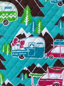 Happy Camper Quilted Tote Bag Fabric Closeup