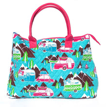 Happy Camper Quilted Tote Bag with Pink Handles