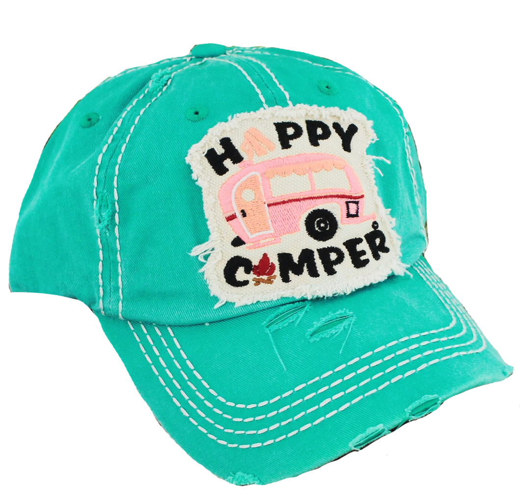 Distressed Happy Camper Hat Patch Turquoise
