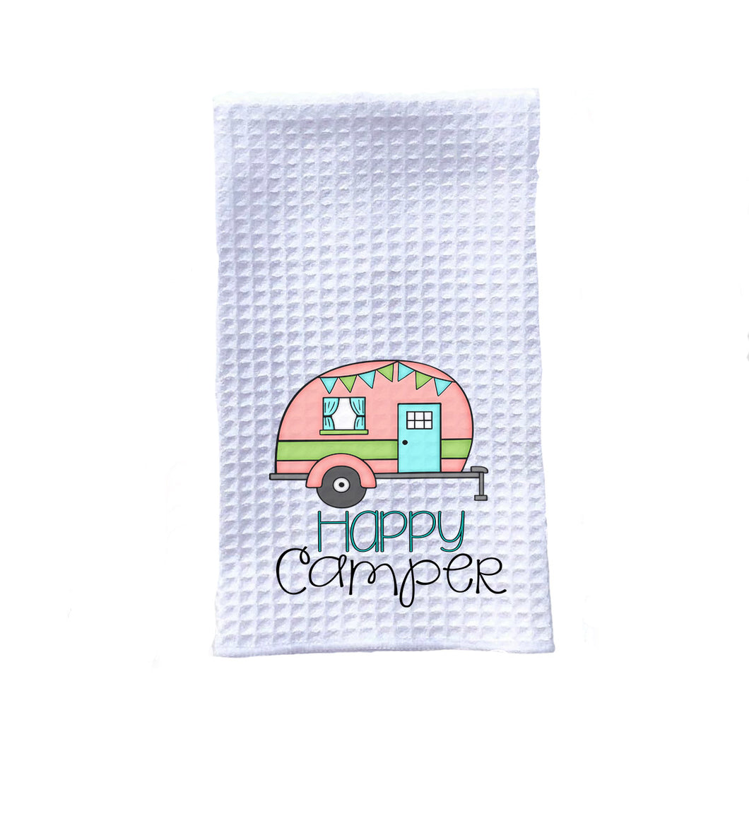 camper kitchen towel coral