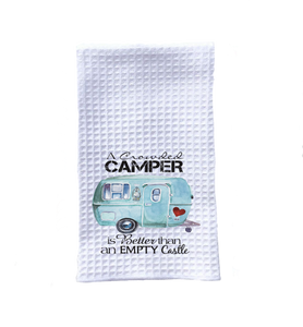 kitchen towel camping crowded camper trailer
