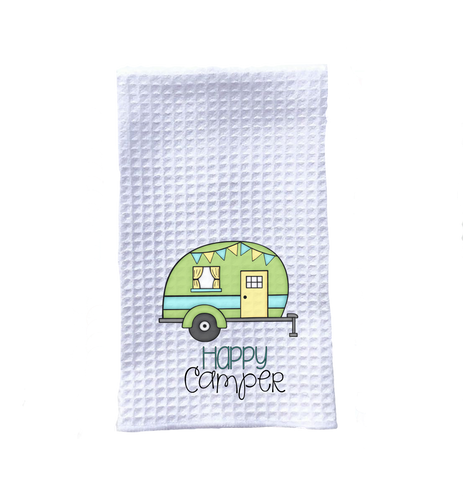 kitchen towel camping happy camper green trailer