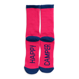 Ladies happy camper crew socks hot pink