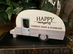 Personalized Happy Camper Gift Wood Sign Laser Engraved