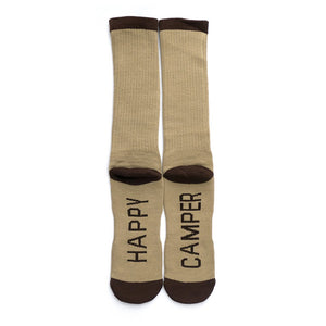mens crew socks happy camper brown