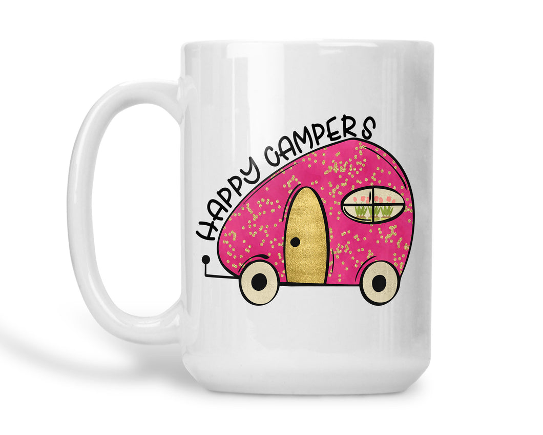 Camping Coffee Mug Pink and Gold Happy Campers