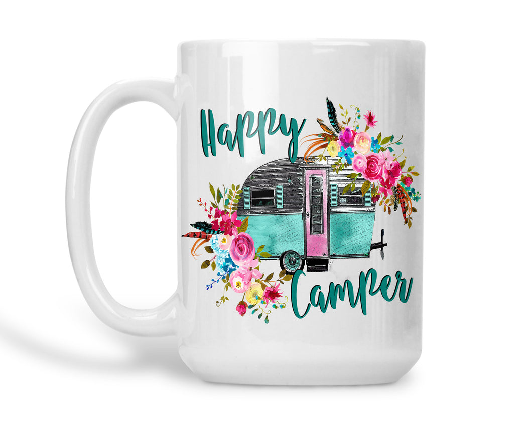 Camping Coffee Mug Teal Happy Camper