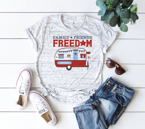 4th of July camping t-shirt ladies patriotic red camper