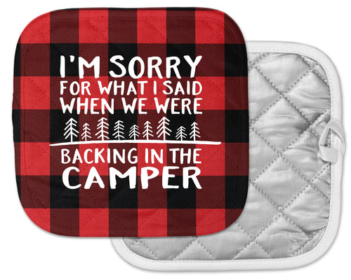 funny camping pot holder camp kitchen happy camper gift