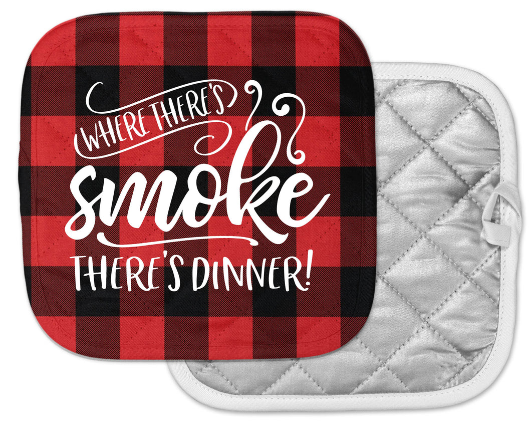 camp kitchen pot holder buffalo plaid red and black