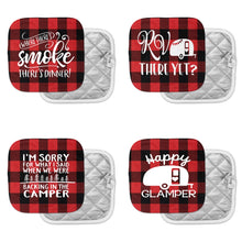 camping pot holders camp kitchen red and black