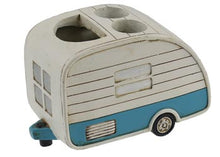 retro camper blue and white toothbrush holder