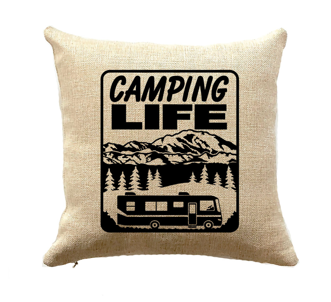 Camping Life Pillow RV Decor Class A Motorhome