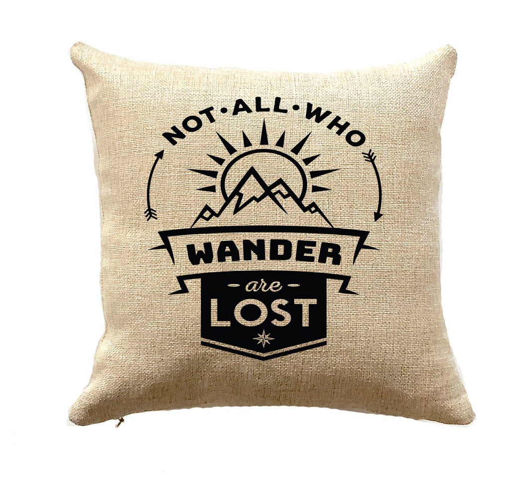 RV Decor Pillow Not All Who Wander are Lost Mountain Lover