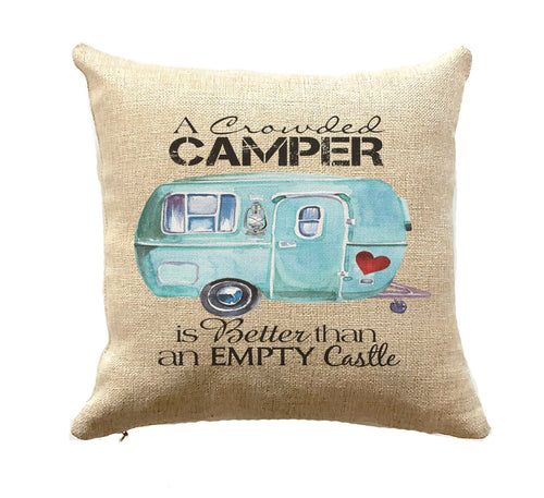 Trailer Decor Crowded Camper Pillow RV Gift