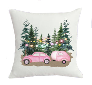 pink camping Christmas pillow
