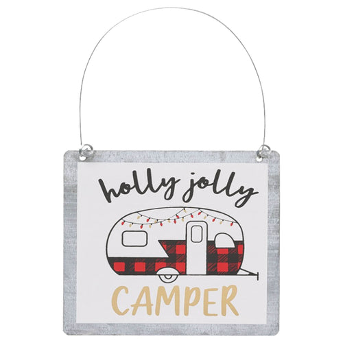 tin Christmas ornament holly jolly camper red trailer