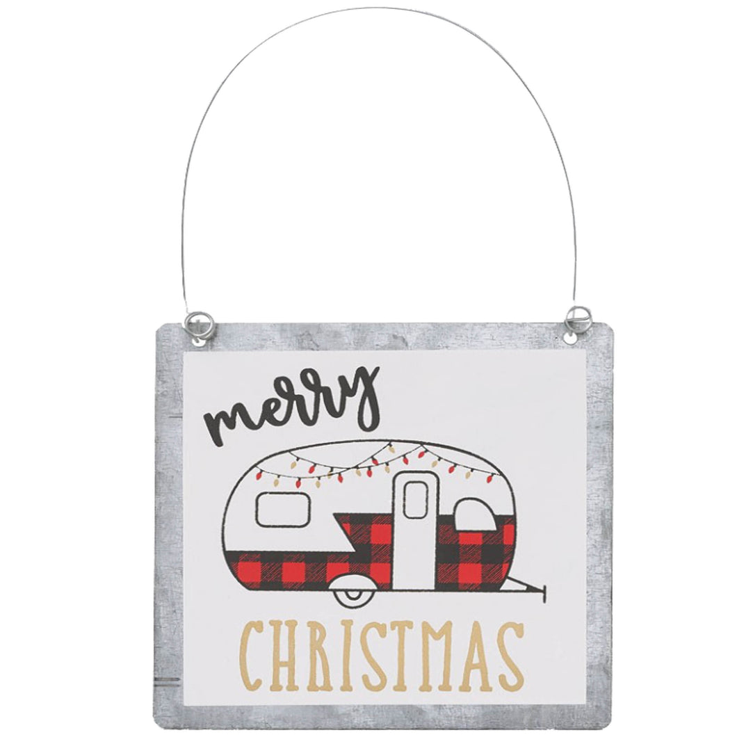 tin Christmas ornament merry Christmas with plaid trailer