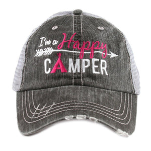 Happy Camper Hat Trucker Cap Hot Pink