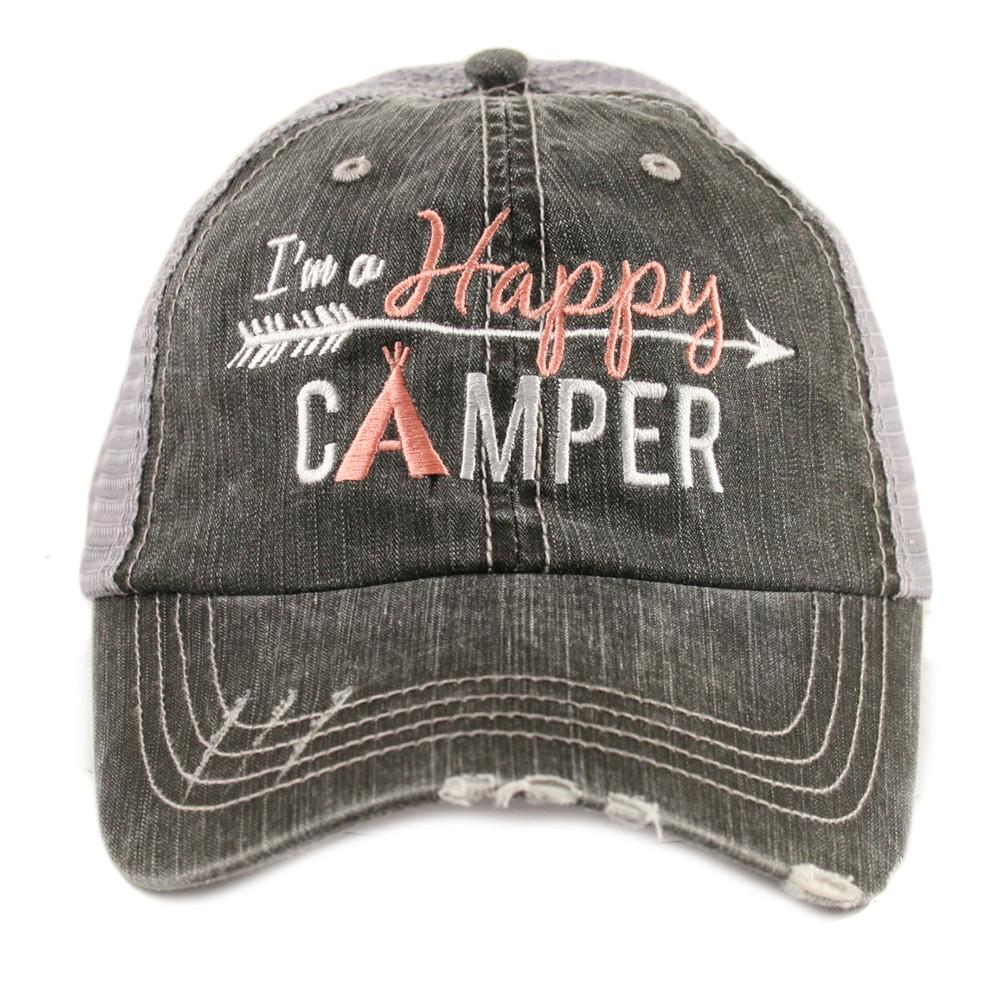 Trucker Cap I'm a Happy Camper Hat Coral