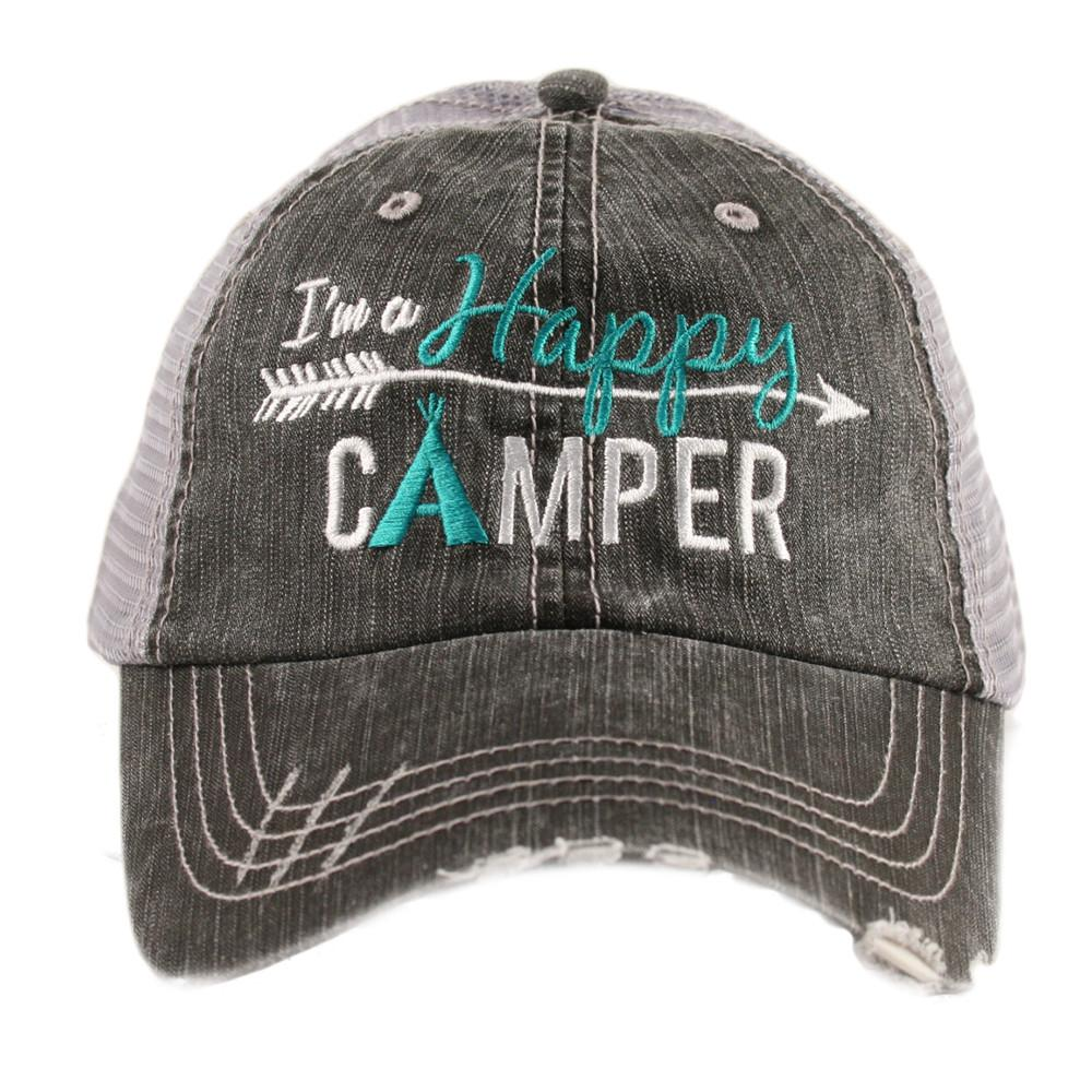 Happy Camper Baseball Hat Teal