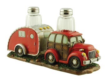 woody car and camper salt and pepper holder and shakers