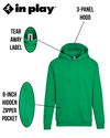 Adult Pullover Hood with Hidden Zipper Pocket in Safety Green