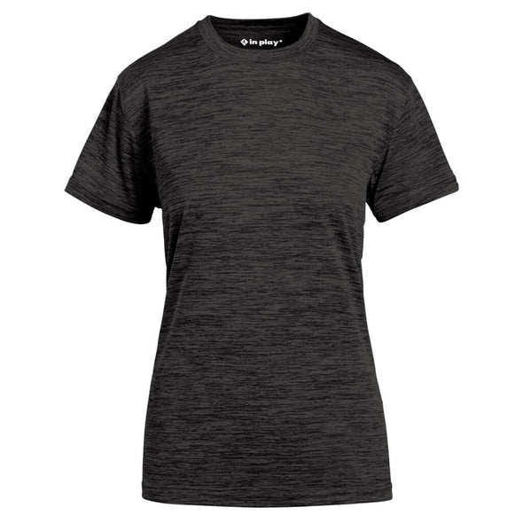 Black Ladies Tonal Blend Short Sleeve Performance Polyester T-Shirt In Play Sportswear
