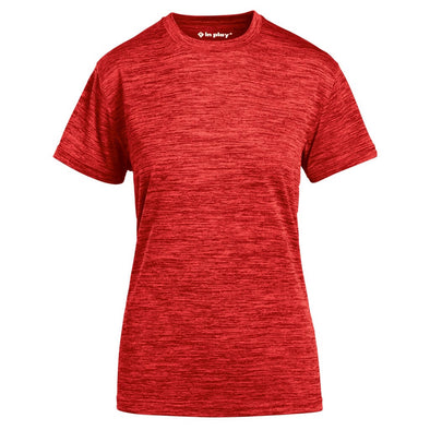 Red Ladies Tonal Blend Short Sleeve Performance Polyester T-Shirt In Play Sportswear