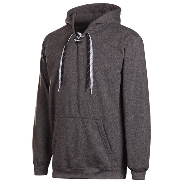 Dark Heather Grey Polyester Performance Hockey Hood Lace Up Split Lace Hood In Play Sportswear