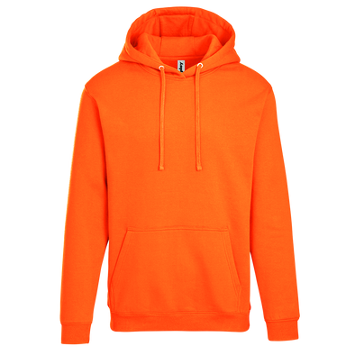 Adult Pullover Hood with Hidden Zipper Pocket in Safety Orange