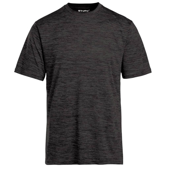 Black Tonal Blend Short Sleeve Performance Polyester T-Shirt In Play Sportswear