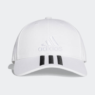 Singapore Adidas Six Panel 3-Stripes Cap, White/Black