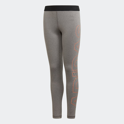 Girls Training Branded Tights, Grey