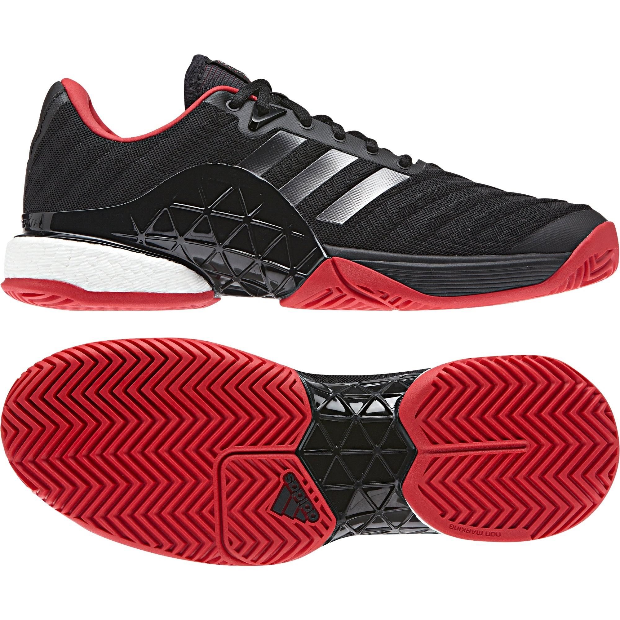 differently ed871 b0675 Men Barricade 2018 Boost Tennis Shoes, Black Red