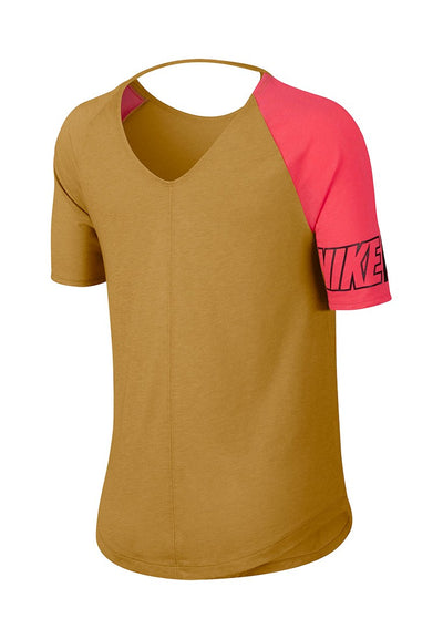 Singapore Nike Women's Miler Short Sleeve Top, Wheat/Ember Glow/Black/Reflective Silver