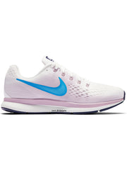 Singapore Nike Women Air Zoom Pegasus 34 Running Shoe, White/Equator Blue-Elemental Rose