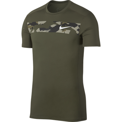 Men Baselayer Shortsleeve Top, Olive Canvas/White