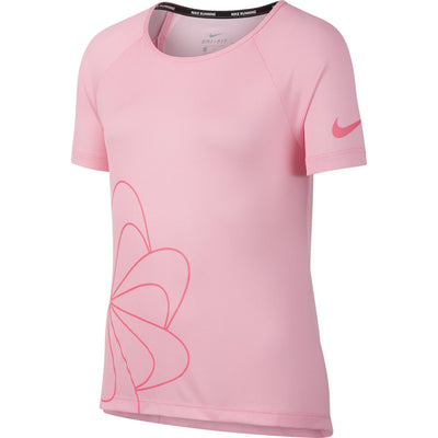 Girls Short Sleeve Run Gx Top, Pink/White/Pink Nebula