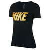 Women Sportswear Mettallic Block Tee, Black/Metallic Gold