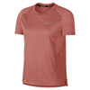 Women Miler Short Sleeve Top, Rust Pink